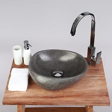 wohnfreuden Naturstein Waschbecken Waschbecken aus Stein rund 30 cm für  Waschtisch Unterschrank im Gäste WC Bad