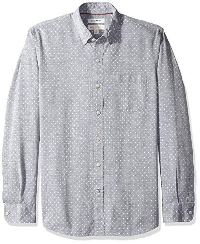 Mens Polka Dot - Goodthreads Men's Standard-Fit Long-Sleeve Polka Dot Chambray Shirt, Navy White, Large