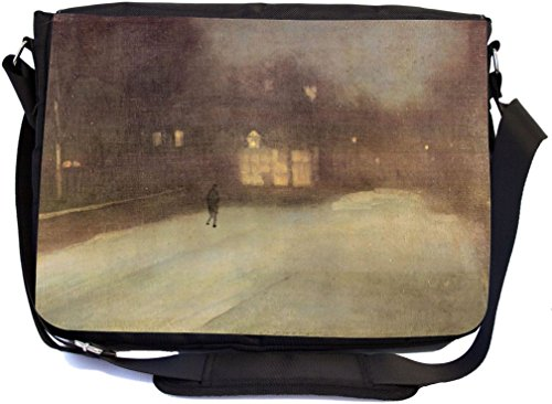 Rikki Knight James Abbot McNeill Whistler Nocturne Snow in Chelsea Design Premium Messenger Bag - School Bag - Laptop Bag - with padded insert for School or Work - With Matching Pencil Case by Rikki Knight