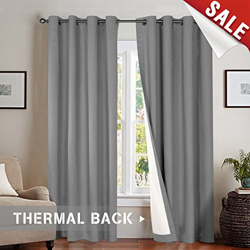 jinchan Bedroom Thermal Darkening Curtains Energy Saving Lined Drapes for Living Room 84 Inch Length Grey Window Curtain, Grommet Top, Sold Individually