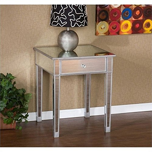 Pemberly Row Painted Silver Wood Trim Mirrored Accent Table by Pemberly Row