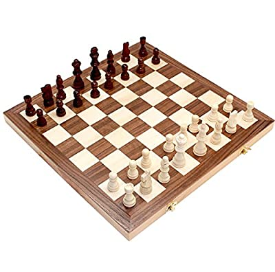 "Fun Sports 15"" x 15"" Classic Folding Wooden Chess Set with Felted Board Interior for Storage Model 8785"