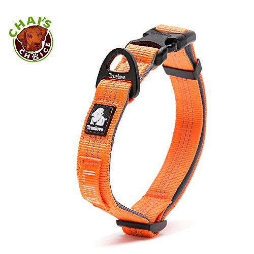 Chai's Choice Best Outdoor Adventure Pet Collar 2018 Model! 3M Reflective with Aluminum Leash Attachment. Matching Harness and Leash Available! (Medium, Orange)