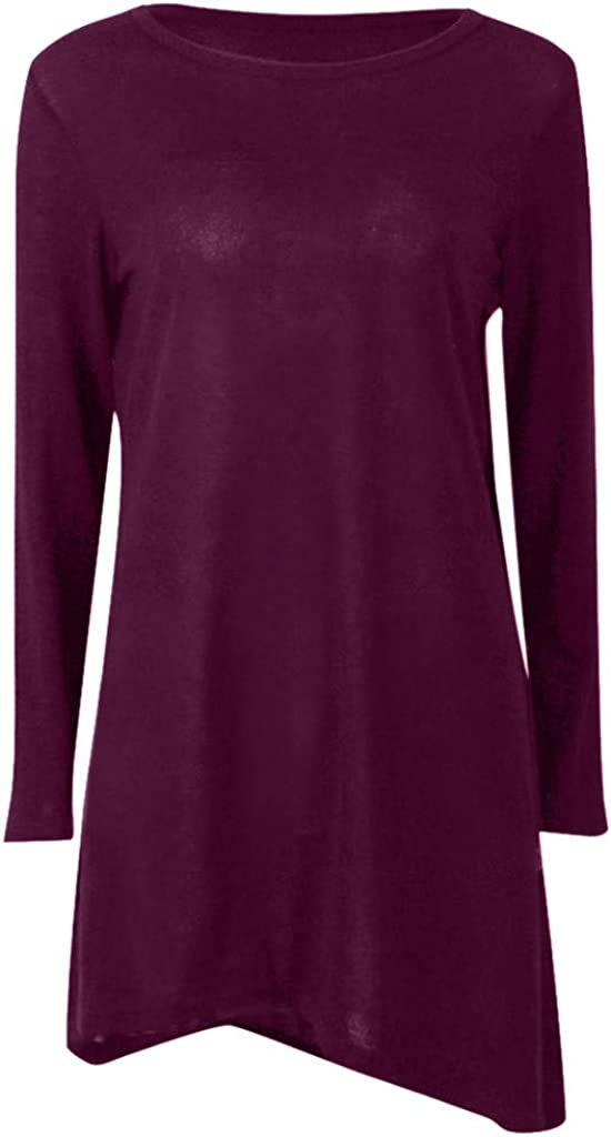 Casual Round Neck Button Side Swing Fall T Limsea Womens Long Sleeve Tunic Tops Shirt Blouse Pullover