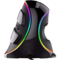 Ergonomic Vertical USB Mouse with RGB Backlit, NPET V20 Wired 7 Programmable Buttons Mouse with Removable Palm Rest, Adjustable 4000 DPI for Office, Gaming, PC, Computer Laptop