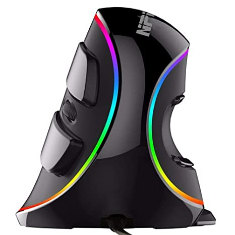 NPET V20 Wired RGB Ergonomic Vertical Mouse, 7 Programmable Button with  Adjustable Sensitivity(800/1200/1600/2400/4000), Scroll Endurance,  Removable