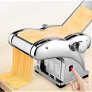 Image of Commercial Waffle Makers Electric Pasta Maker Machine,110V Noodle Maker Machine Stainless Steel Spaghetti Pasta Roller Machine Dumpling Skin Making with 6 Thickness Setting and 1 Cutter