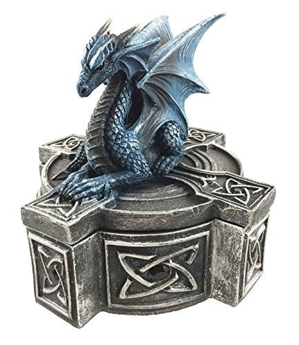 Celtic Cross Bifrost Altar Drake Dragon Jewelry Box Figurine Sculpture - Trinket Cross Celtic
