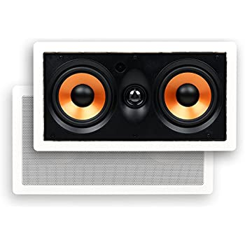 """Micca M-CS Center Channel In-Wall Speaker with Dual 5.25 Inch Woofers and Pivoting 1"""" Silk Dome Tweeter (Each, White)"""