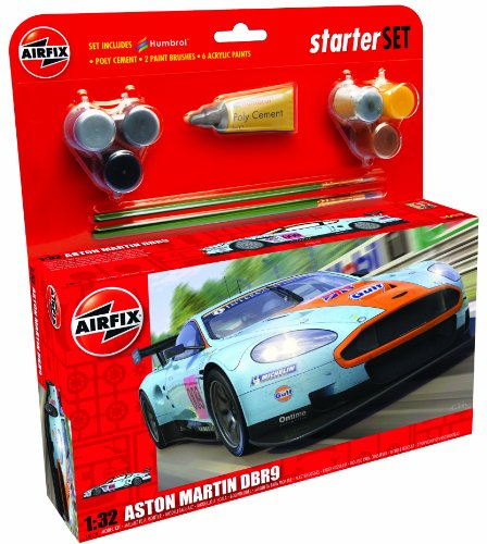 Airfix A50110 Aston Martin DBR9 Gulf 1:32 Scale Endurance Car Category 3 Gift Set (Including Paint Glue And Brushes)