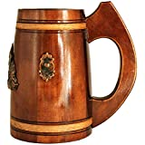 Medieval German style Huge Beer Stein 27 oz. Renaissance Oktoberfest Big Wooden Mug for Men. Old Times Tall Coffee Drinking Cup. Authentic Giant Wood Tankard with Handle. Fathers Day, Birthday Gift
