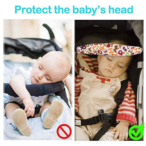 4 Piezas de Cuero PU Ganchos Carrito Bebe + 2 Piezas Sujeta Cabezas Coche para Niño, Algodón Cinturón de Seguridad para Bebés Cochecitos Asientos Carritos: ...