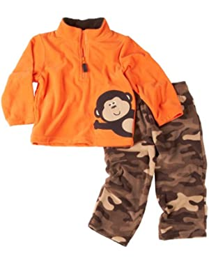 Carter's Baby Boys' Monkey Microfleece Camo Pant Set