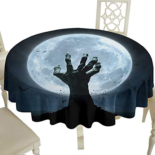 Cranekey Gingham Round Tablecloth 65 Inch Halloween,Realistic Zombie Earth Soil Full Moon Bat Horror Story October Twilight Themed,Blue Black Great for,Party & More -