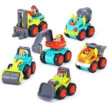 [Patrocinado] Juego de 6 coches de juguete correderos, camiones de construcción de bolsillo, juguetes para niños mayores de 18 meses – Bulldozer, mezclador de cemento, bombona, elevador de horquilla, excavadora y rodillo de carretera.