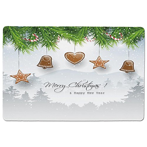 Mouse Pad Unique Custom Printed Mousepad [ Christmas,Gingerbread Cookies Hanging from Fir Branches Forest Silhouette,Light Brown Green Light Grey ] Stitched Edge Non Slip Rubber (Printed Custom Cookies)