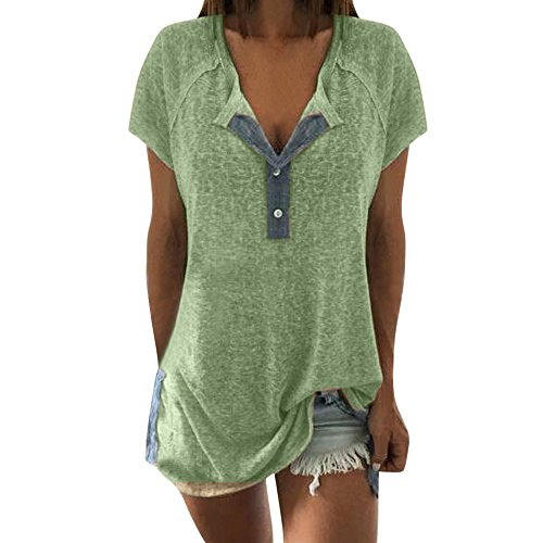 Sunhusing Price!Women's Button Buckle Casual Short Sleeve T-Shirt Neckline Patchwork Tops Green