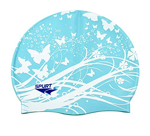 Moolecole Soft Waterproof Silicone Swim Cap Girls Summer Pool Sea Swimming Cap Bathing Haircare Hat Long Hair Blue Butterfly (Caps Team Money Gold)