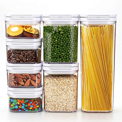 - Airtight Food Storage Containers with Lids 7 Piece Set - Air Tight Snacks Cereal Pantry & Kitchen Container - Clear Plastic BPA-Free - Keeps Food Fresh & Dry - Patented Lid-Lock Mechanism