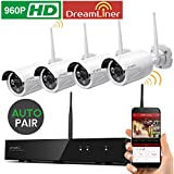 [Dream Liner WiFi Relay] xmartO 8 Channel 960p HD Wireless Security Camera System with 4x 960p 1.3Megapixel Indoor/Outdoor WiFi Cameras (NVR Built-in Router, Auto-Pair, 80ft IR, No HDD)