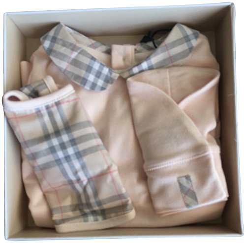 Price comparison product image Burberry Baby Girl Infant Bodysuit Coverall Bib Hat Baby Shower Gift Set Pink 6M
