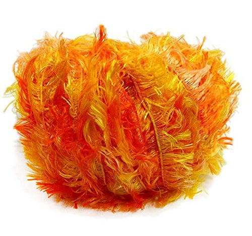 (Crystal Palace Splash #9216 Orangeade - Oranges, Yellow Feather Boa Short Eyelash Yarn 100 gram 85 Yards)