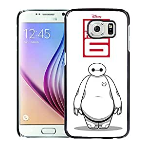 Fashionable And Unique Designed Cover Case With Big Hero 6 Bayma 7 Black For Samsung Galaxy S6 Phone Case