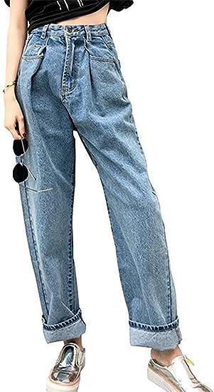 [JINPIN]ジーンズ デニム レディース ロングパンツ ハイウエスト ゆったり デニムパンツロールアップ ロングジーンズ ワイドレッグジーンズ ワイドパンツ カジュアル 体型カバー