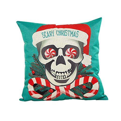 Weiyun Scary Christmas Pillow Cases Linen Sofa Cushion Cover Home Decor Pillow Core Scary Pillowcase ()