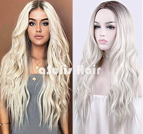 aSulis Long Wavy Full Wigs Ombre Black to Platinum Blonde Mix Two Tone Dyeing Color Synthetic Hair Wig for Women (Platinum Blonde) …]()