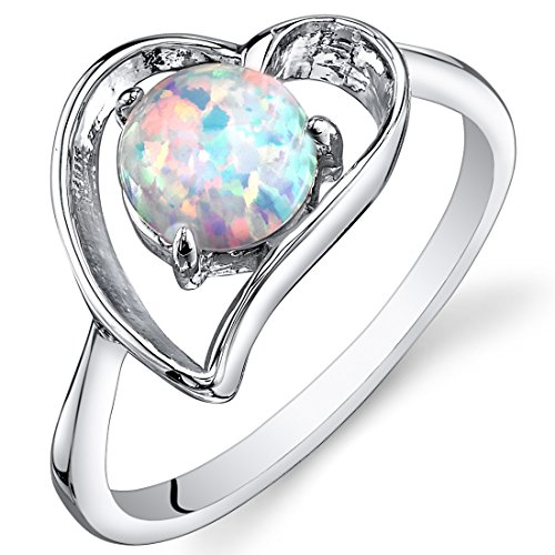 Created Opal Ring Sterling Silver Heart Design 0.75 Carats Size 8