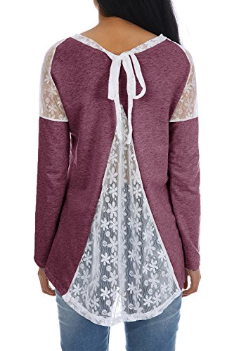 Bbalizko Womens Casual Tops Lace Crew Neck Long Sleeve Bowknot Tie Split Back Patchwork (Bowknot Crew Neck Long Sleeve)
