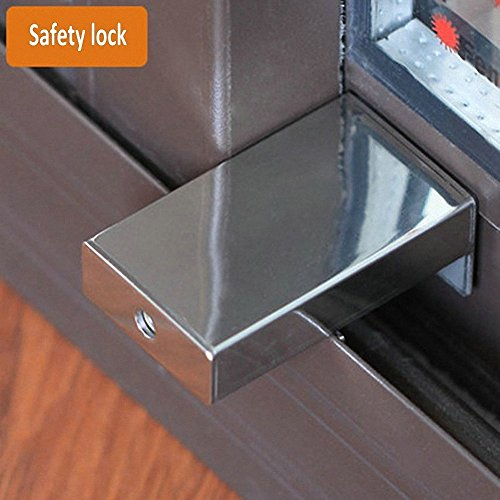 do4u 1pcs door window lock stopper adjustable thick sliding window lock safety anti-slip stainless steel sto (silver)