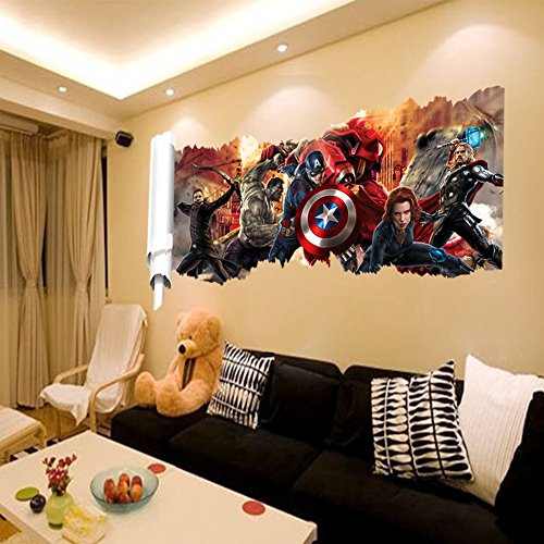 wall decals for kids rooms boys skateboard : DC Comics Marvel The Avengers Wall Sticker Team Hulk Decal Decoration Wallpaper]()