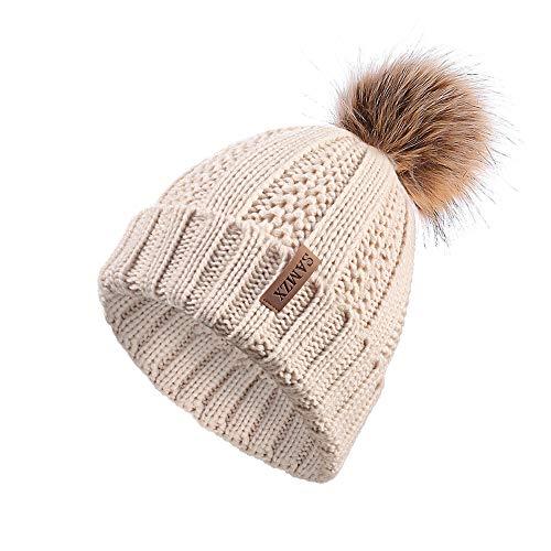 SAMZX Womens Knit Beanie Hat, Chunky Slouchy Baggy Hats for Women with Fur Pom Pom Warm Ski Winter Cap Beige