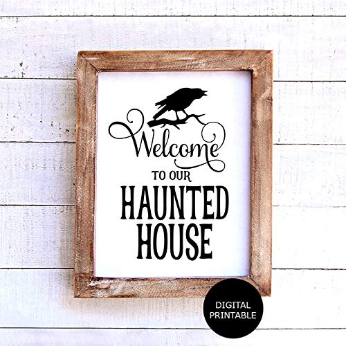 Waaa Haunted House Printable Instant Download Printable Signs for Halloween Welcome to Our Haunted House Halloween Signs
