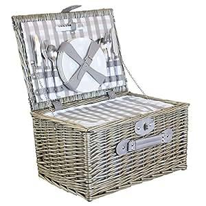 4 persona gris cesta de picnic con refrigerador