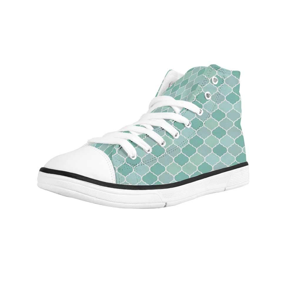 Turquoise Comfortable High Top Canvas Shoes,Abstract Foliage Leaves Pattern Gentle Floral Arrangement Romantic Design for Women Girls,US 5