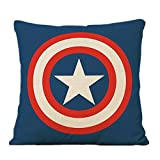 HEYFAIR Decorative Cool Cartoon Marvel Heroes Throw Pillow Covers Cotton Linen Cushion Cases 16 x 16 inch (Captain America)