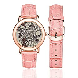 Hummingbirds Decor Rose Gold Leather Strap Watch,Pattern with Birds and Flowers Classic Style Ornamental Design Floral Print Decorative for Woman,Case Diameter:1.4D