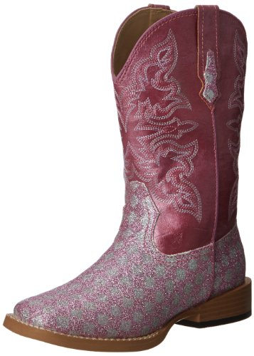 Roper SquareToe Glitter Checkerboard Western Boot (Toddler/Little Kid),Pink/Silver,9 M US Toddler ()