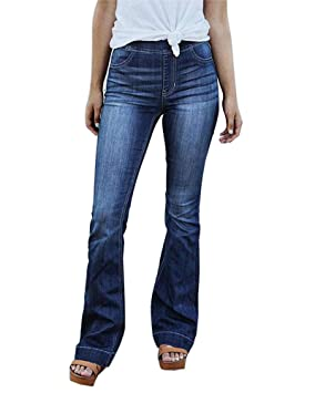 Guiran Mujeres Pantalones De Campana Jeans Largos Denim ...