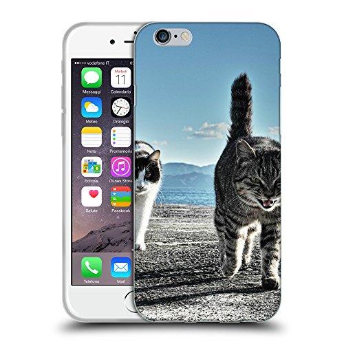 """Just Phone Cases Coque de Protection TPU Silicone Case pour // V00004218 chats en colère sur la plage // Apple iPhone 6 4.7"""""""