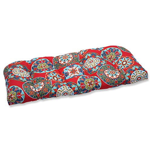 Southwestern Patio Furniture - Pillow Perfect Outdoor Cera Garden Wicker Loveseat Cushion, Red