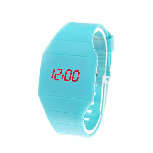 Reloj De Pulsera De Mujer Reloj Ultra-Delgado Touch Led Reloj Digital para Mujer Fahion Simple Creativo Creativo Azul Claro: Amazon.es: Relojes