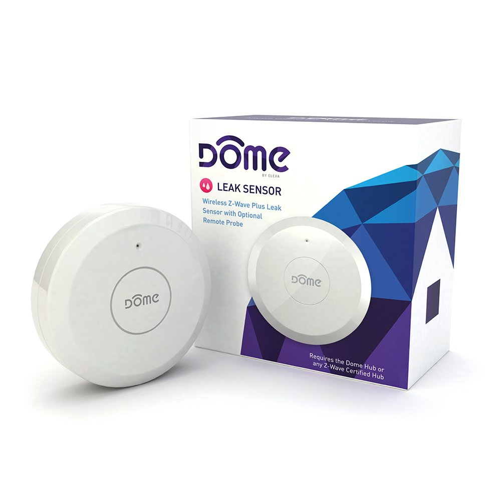 Dome Home Automation Leak Sensor – Wireless Z-Wave Plus with Remote Sensor Probe. Water Resistant. White (DMWS1) (Indoor Use)
