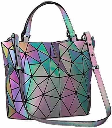 Harlermoon Women's Geometric Handbags Holographic Luminous Purses with Zipper Closure Messenger Bags