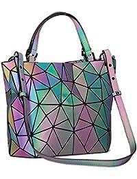 Women's Geometric Handbags Holographic Luminous Purses...