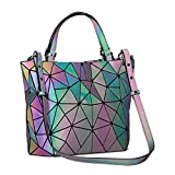 Harlermoon Geometric Luminous Purse and Handbag for Women Large Tote Bag Holographic Top-Handle Bags (Multicolor Purse)