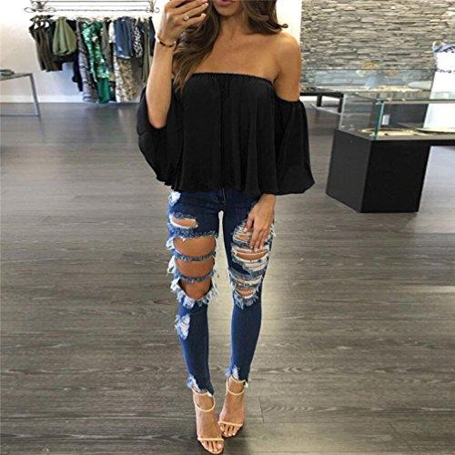 Noir Amlaiworld shirt Pull longues Casual Femmes Blouse Off Shoulder T manches qxZv7w6qr